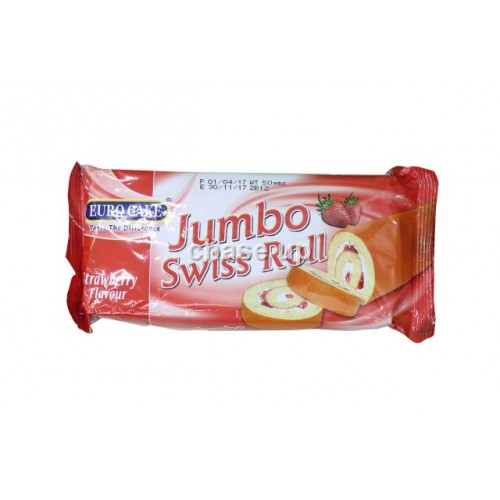 Euro Cake Jumbo Strawberry Swiss Roll 50gm