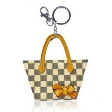 Chaseup Acrylic Key Chain Check Basket Brown