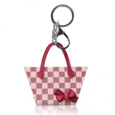 Chaseup Acrylic Key Chain Check Basket Pink