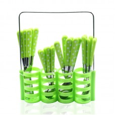 Yes House S-S Cutlery Set W-Holder 24pcs P-1299 B