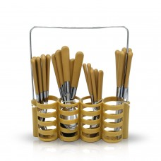 Yes House S-S Cutlery Set W-Holder 24pcs P-1199
