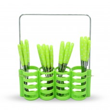 Yes House S-S Cutlery Set W-Holder 24pcs P-1199 C