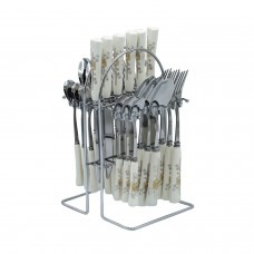 Yes House S-S Cutlery Set White 24pcs P-2499