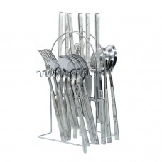 Yes House S-S Cutlery Set Black 24pcs P-2999 A