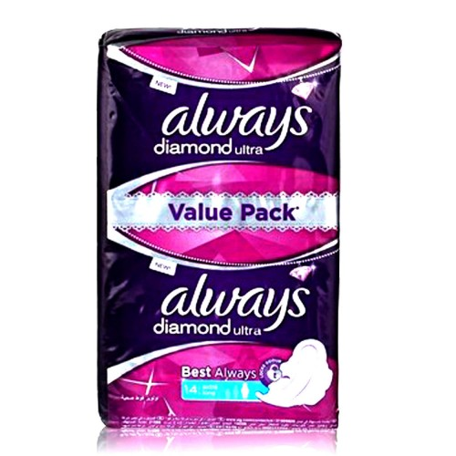 Always Diamond Thin Sanitary Pads Extra Long 14pcs