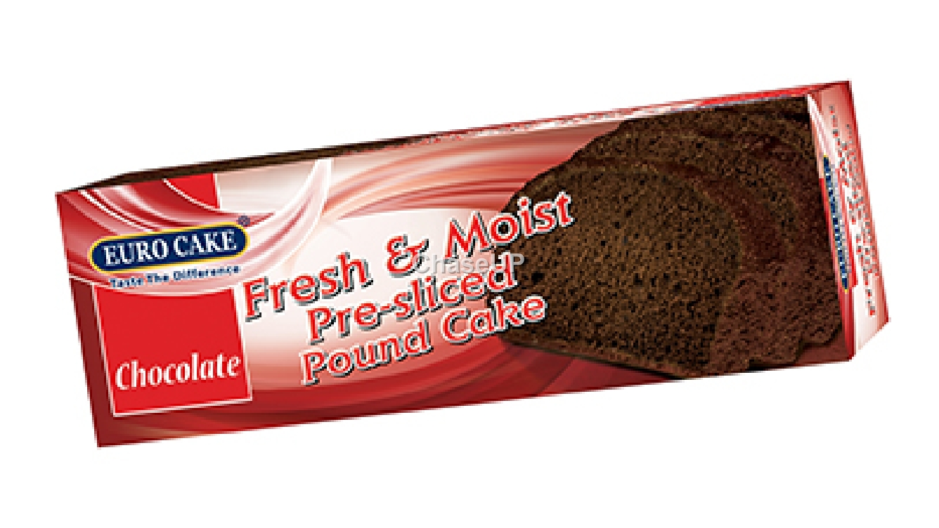 Euro Cake Pre Slice Pound Chocolate Cake Box 220gm