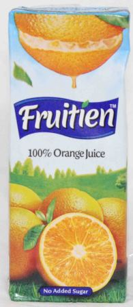 Fruitien Orange 100% Juice Tetra Pack 200ml