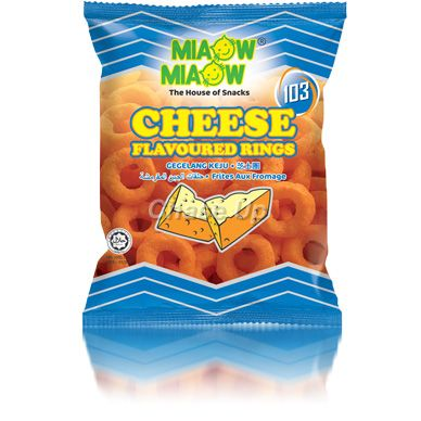Miaow Miaow Cheese Rings Snacks 60gm Imp