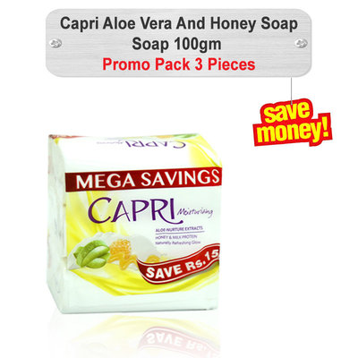 Capri Aloe Vera And Honey Soap (White) 100gm 3pcs