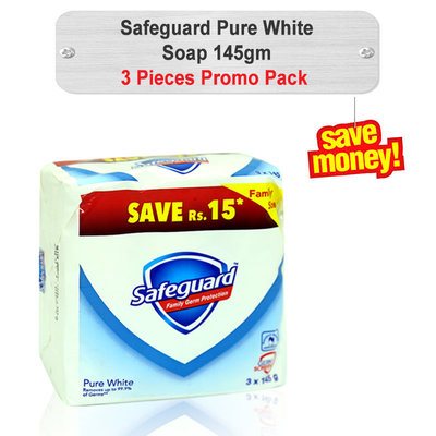 Safeguard Pure White Soap Promo Pack 145gm 3pcs
