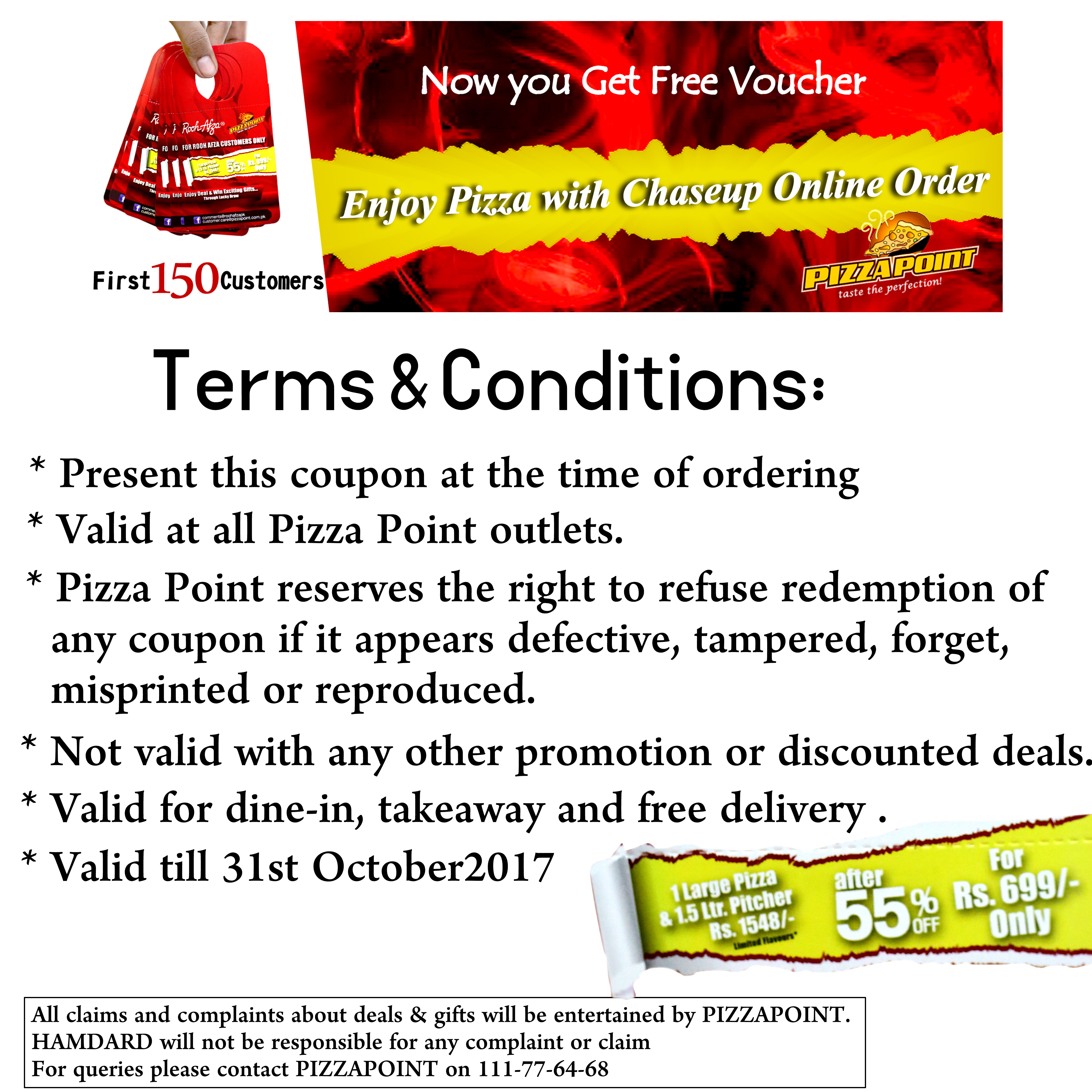NOW YOU GET FREE VOUCHER ENJOY PIZZA WITH CHASEUP ONLINE ORDER