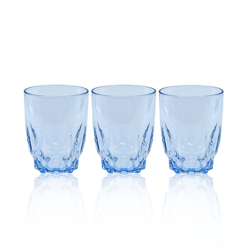 Novel Diamond Glass Set 3pcs Blue