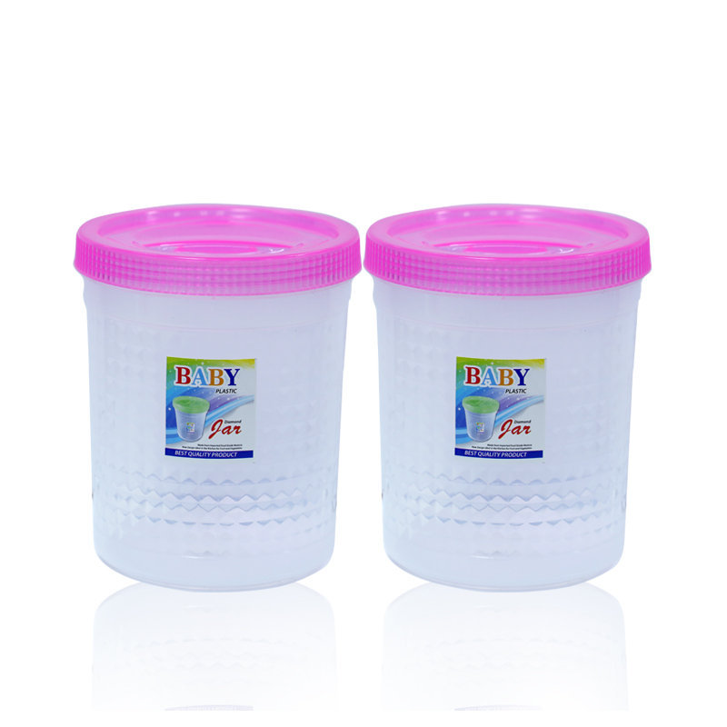 Novel Plastic Jar Set 2pcs Pink