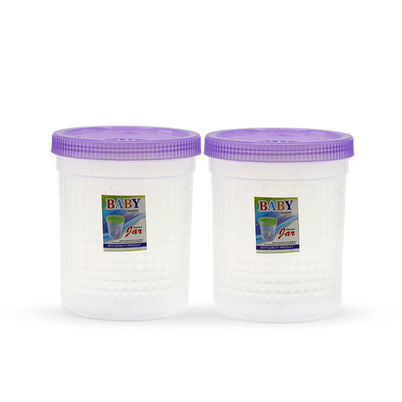 Novel Plastic Jar Set 2pcs Purple