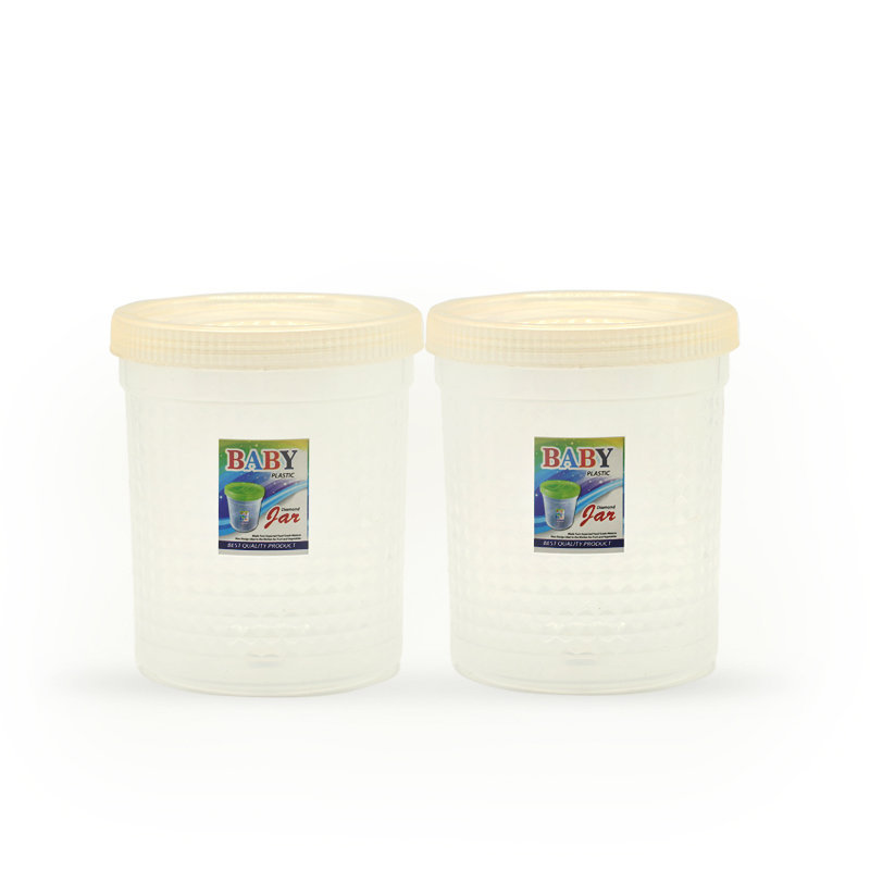 Novel Plastic Jar Set 2pcs White
