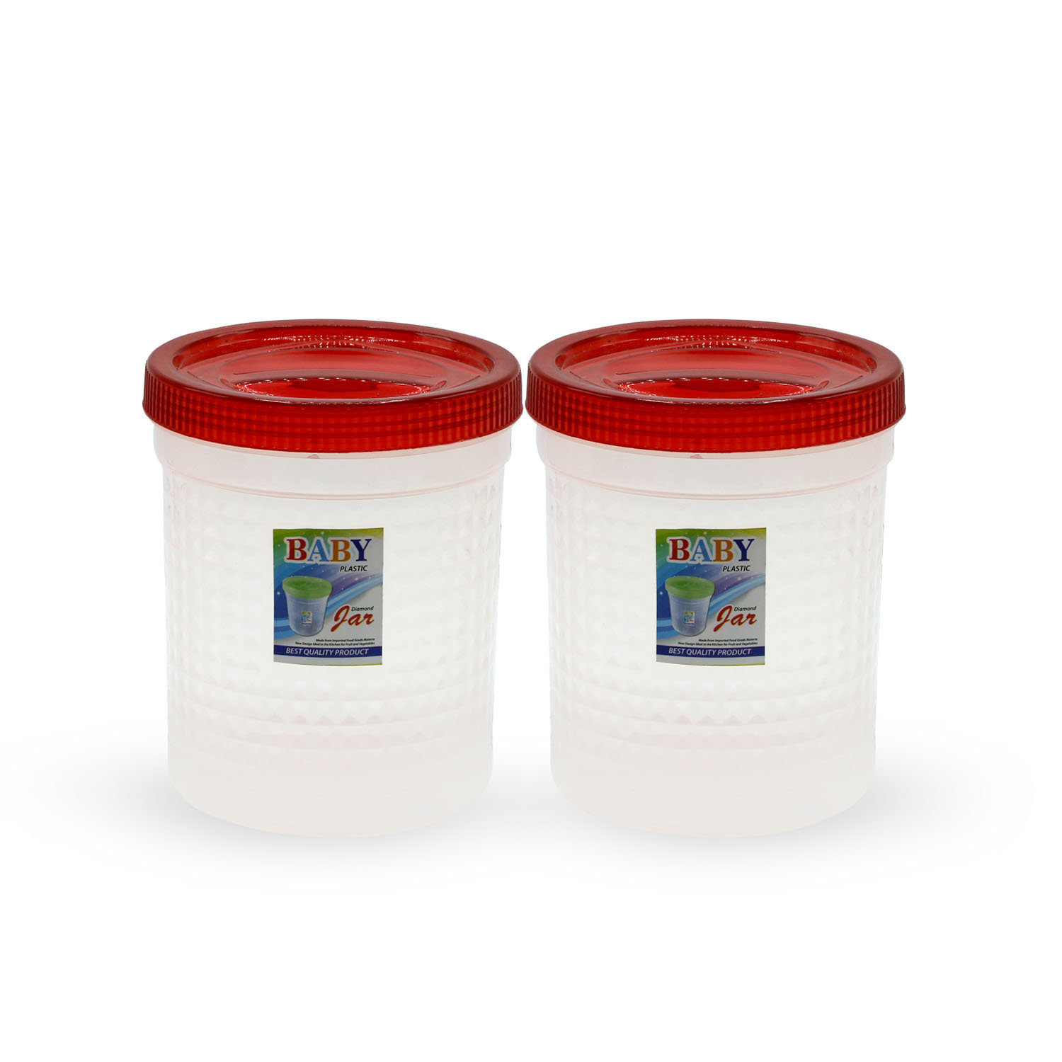 Novel Plastic Jar Set 2pcs Red