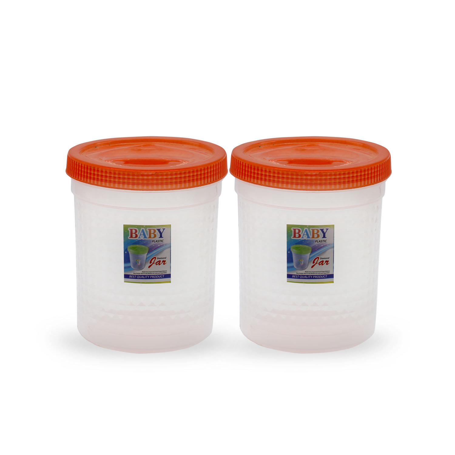 Novel Plastic Jar Set 2pcs Orange