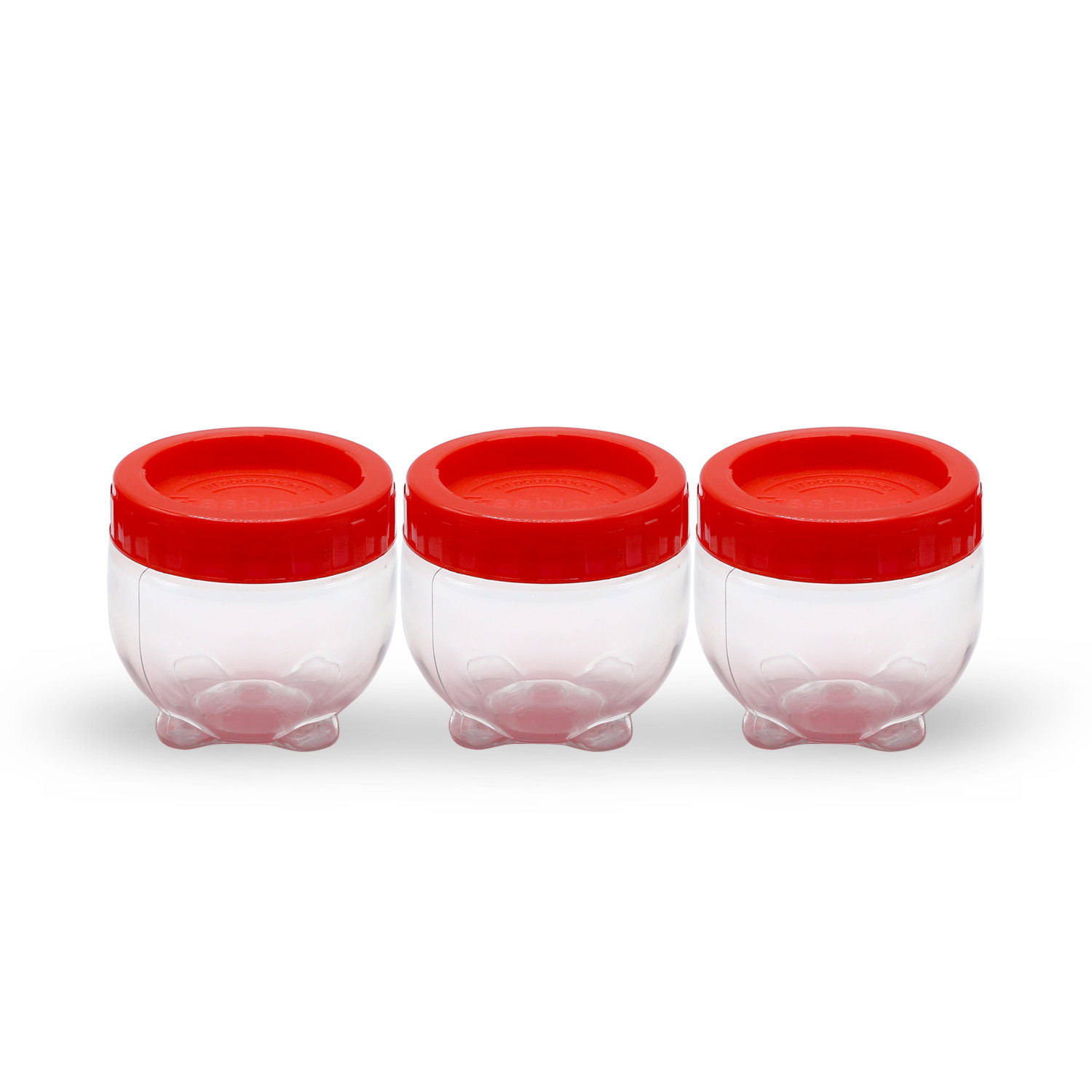Novel Plastic Interlock Jar Set 3pcs P-99 Red